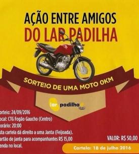 Ação entre Amigos do Lar Padilha sorteará uma moto