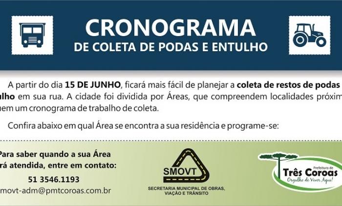 PREFEITURA DE TRÊS COROAS INICIA CRONOGRAMA DE RECOLHIMENTO DE RESTOS DE PODA E ENTULHOS