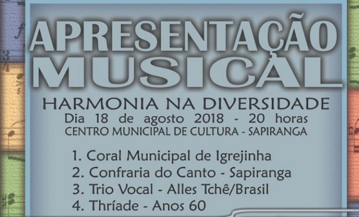 CORAL MUNICIPAL DE IGREJINHA PARTICIPA DA APRESENTAÇÃO MUSICAL EM SAPIRANGA