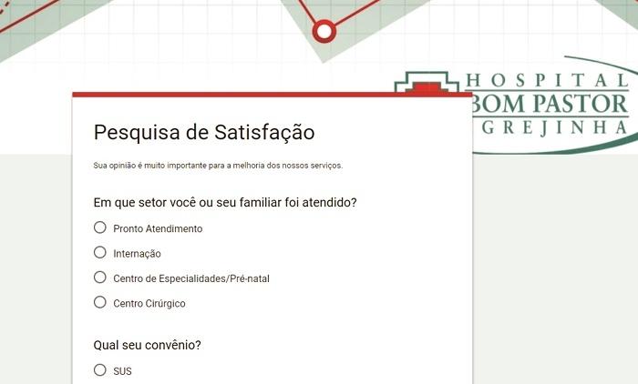 HOSPITAL BOM PASTOR LANÇA PESQUISA DE SATISFAÇÃO DIGITAL